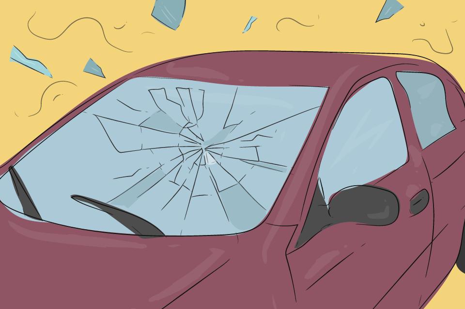 auto rozbite sklo
