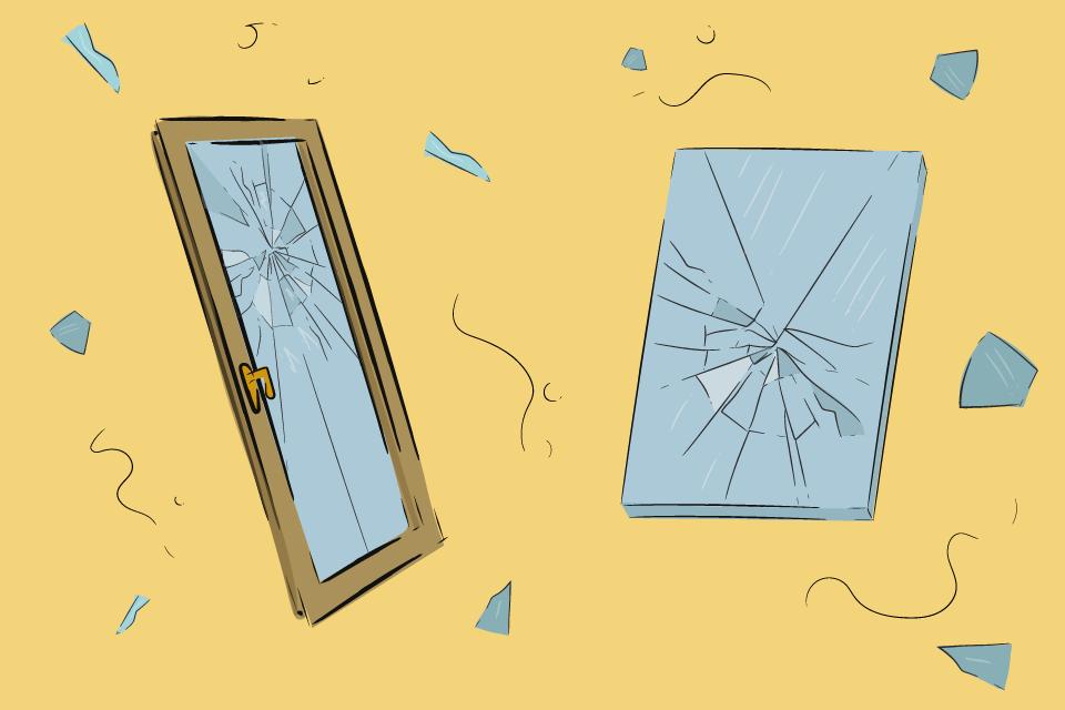 rozbite okno zrcadlo