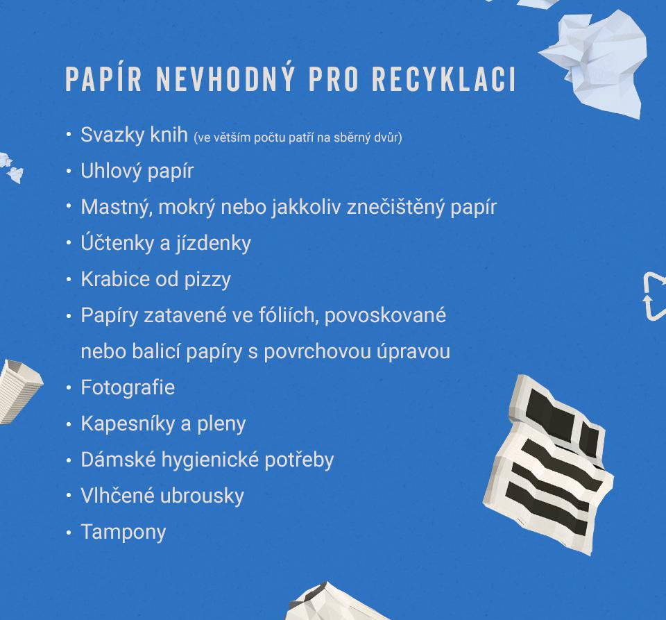 Seznam papírových materiálů, které nejsou vhodné krecyklaci