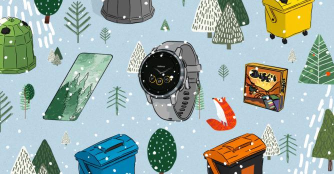 hodinky_karimatka_hra_dixit_barevne_kontejnery_na_trideni_liska_stromy_zimni_krajina